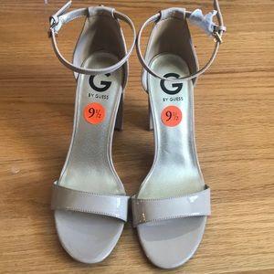 Guess open toe strappy heels, nude beige